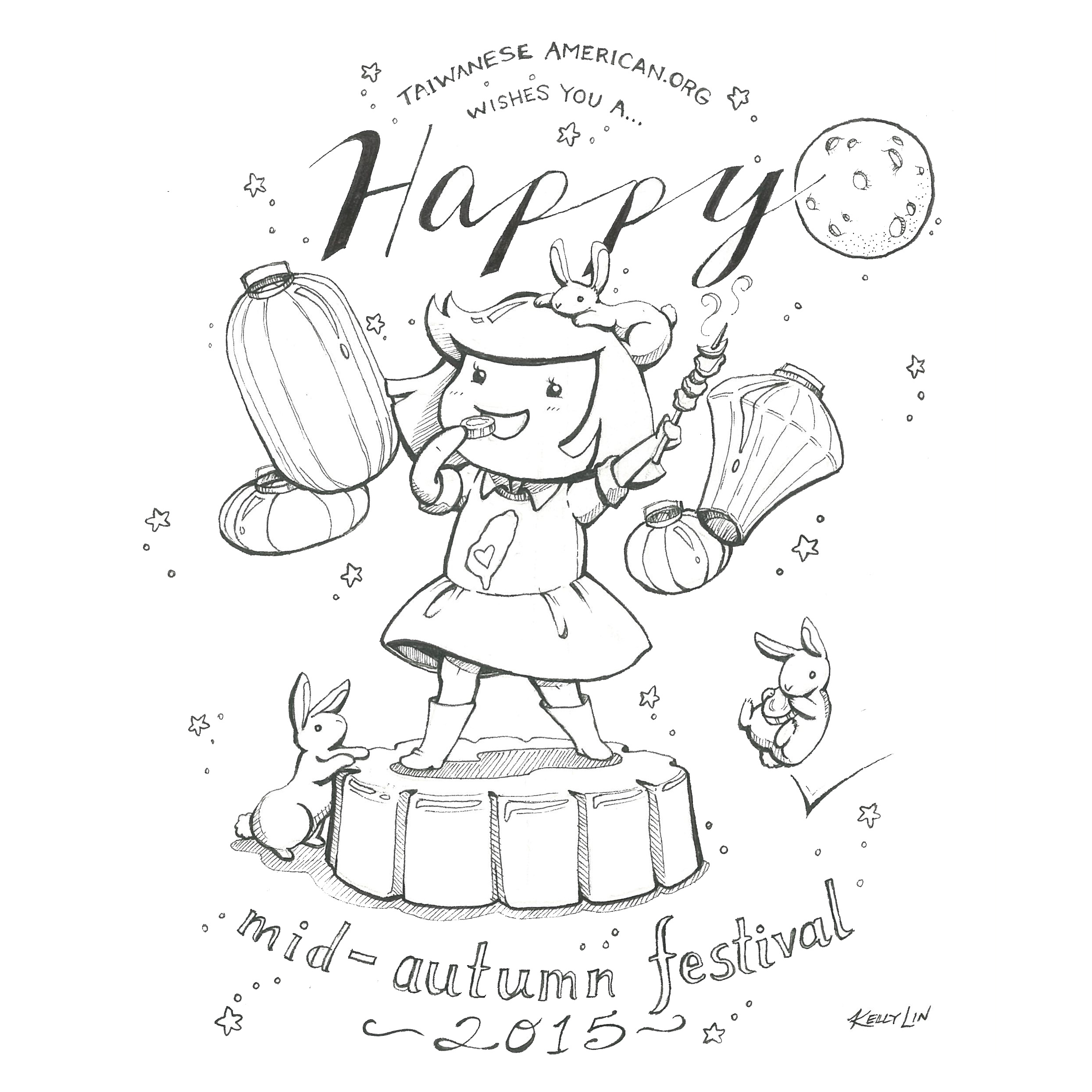Happy mid autumn festival celebrate friends and family for Moon festival coloring pages